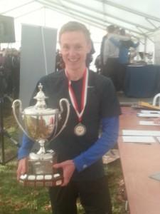 Steve Vernon holds the winners trophy at Woolaton Park