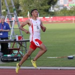 Elliot Hurley in relay action at Cardiff