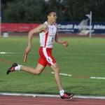 Joseph Reid in relay action at Cardiff