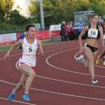 Kristie Edwards in 200m action at Cardiff