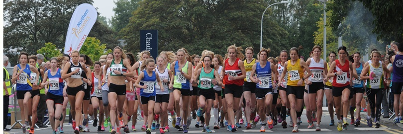 Start of the 2014 Northern Athletics Women's 4 Stage Road Relay Championship