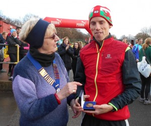 Northern Athletics 10 mile Road Running Champion 2014 Andy Davies with N.A. President Mrs Jean Simpson