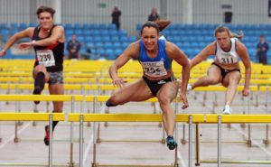 Jessica Ennis-Hill (City of Sheffield and Deare) wins the 100 metres hurdles.