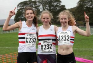 From left to right: Abbie Donnelly, Gemma Holloway and Rochelle Harrison, Lincoln Wellington winners of the senior womens